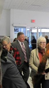 The crowd enjoyed FFW's refreshments. Thanks to Lorraine Bramson (red plaid jacket) for the steady flow of coffee.